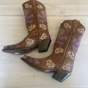 CORRAL Embroidered SKULL Leather Cowgirl Boots